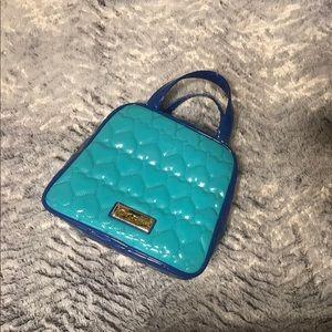 Betsey Johnson Heart Print Blue Lunch Bag